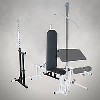 Лавка регульована для жима (до 250 кг) та Стійки з страховкою (до 200 кг). Штанга пряма, w-подібна та гантеліі, фото 3