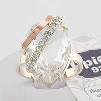 Серебряное кольцо с золотом Сюзанна вставка белый фианит вес 5.5 г, размер 17.5