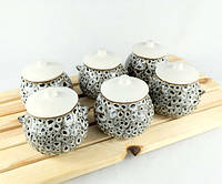 Горшочки для запекания в духовке 6 шт из керамики леопардовые 600 мл