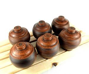 Горшочки для запекания 6 шт из красной керамики гладкие