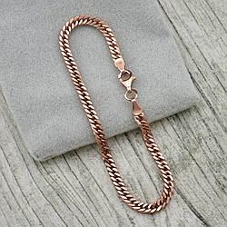 Серебряный браслет позолоченный Панцирный двойной ширина 3 мм  длина 19