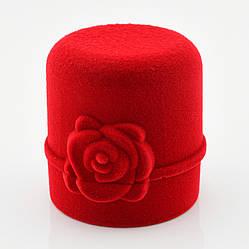 Футляр для колец-серег 741003 красный бархат, размер  4*4,5 см