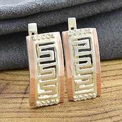 Серебряные серьги с золотыми пластинами Византия размер 22х11 мм вставка белые фианиты вес 5.4