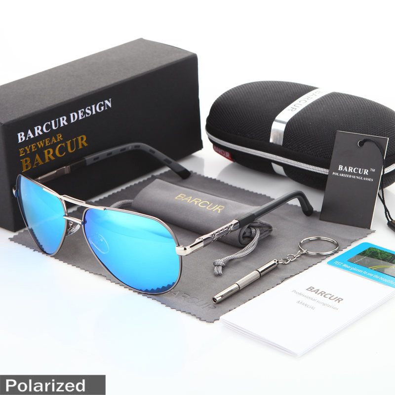 Очки солнцезащитные мужские поляризационные, капля, silver