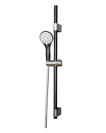 Штанга душевая (чёрная/хром)  L-78 см, ручной душ (чёрный) 3 режима, шланг, блистер IMPRESE 7810003B, фото 2