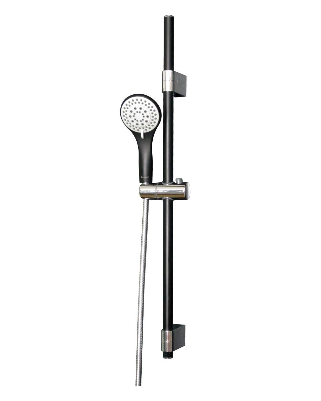 Штанга душевая (чёрная/хром)  L-78 см, ручной душ (чёрный) 3 режима, шланг, блистер IMPRESE 7810003B