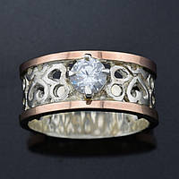 Серебряное кольцо с золотом Карина вставка белыйфианит вес 7.0 г размер 17.5