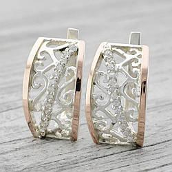Серебряные серьги с золотом Зарина размер 22х13 мм вставка белые фианиты вес 7.05 г