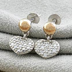 Серебряные серьги гвоздики с золотом 1017БС размер 14х9 мм вставка белые фианиты вес 2.4 г