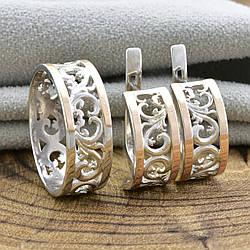 Серебряный набор с золотом 351БС кольцо + серьги 18х7 мм размер 18