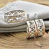 Срібний набір з золотом 351БС каблучка розмір 18 + сережки 18х7 мм, фото 2