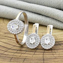 Серебряный набор с золотом 752БС кольцо + серьги 18х8 мм вставка белые фианиты размер 17.5