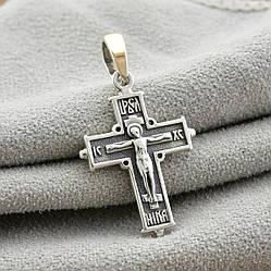 Серебряный крестик с золотом Спаси и сохрани 912БС размер 30х16 мм вес 2.3 г