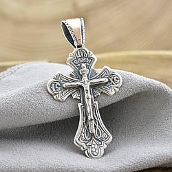 Серебряный крест Спаси и сохрани с золотом 938БС размер 51х26 мм вес 6.6 г
