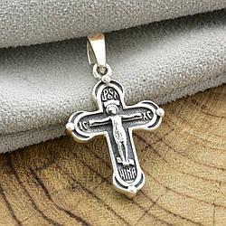 Серебряный крестик Спаси и сохрани с золотом 897БС размер 29х16 мм вес 2.6 г