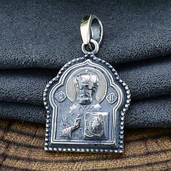 Серебряная иконка Святой Николай Спаси и сохрани размер 31х19 мм вес 5.4 г