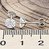 Серебряные серьги гвоздики ТС520207 размер 6х6 мм вставка белые фианиты вес 0.95 г, фото 2