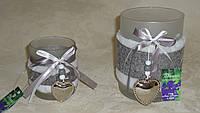 Подсвечник-ваза стеклянный с мехом большой, фото 1