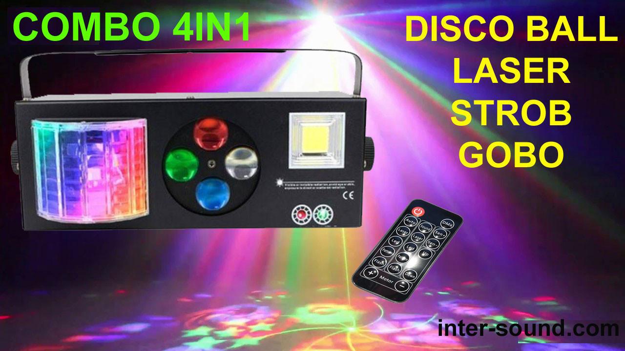 Комбо LED светомузыка 4в1 с пультом ДУ. Лазер, шар, строб, трафареты