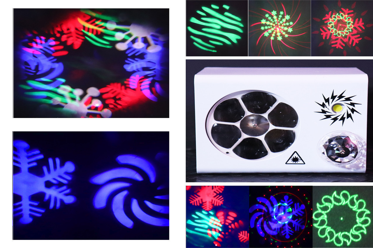 Led светомузыка RGB 4в1. Лазер, трафареты, строб, шар