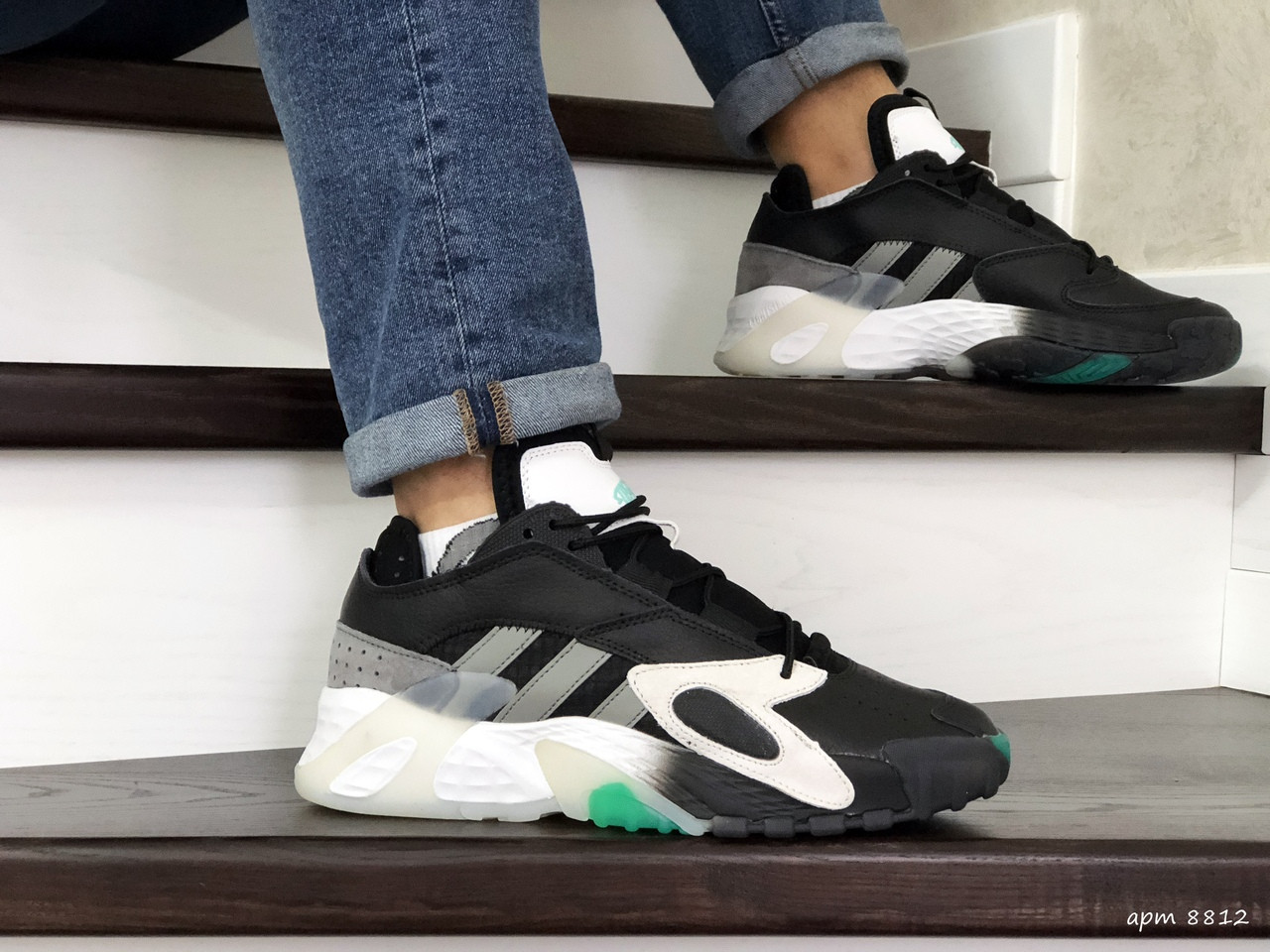 Мужские кроссовки Adidas Streetball ,черно белые