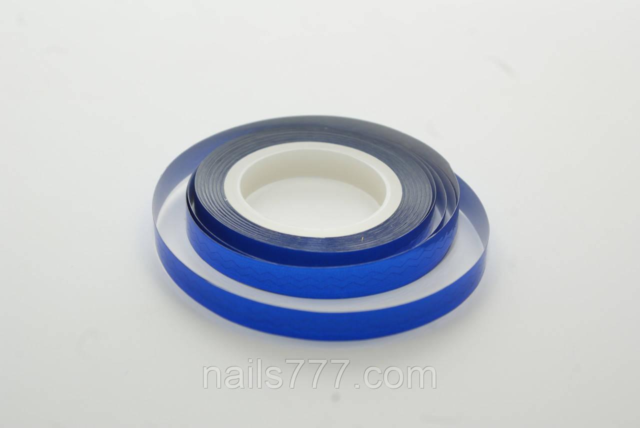 Лента зиг-заг для декора ногтей, синяя