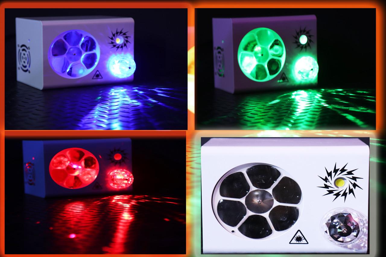 Led праздничный свет RGB 4в1. Лазер, трафареты, строб, шар