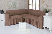 Натяжной чехол-накидка на угловой диван с рюшами  VENERA 02-202 с оборкой Капучино