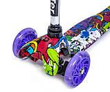 Самокат трехколесный детский Mini светящиеся колеса принт Graffity Violet, фото 2