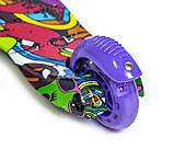 Самокат трехколесный детский Mini светящиеся колеса принт Graffity Violet, фото 4