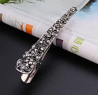 Заколка зажим для волос Ажур античное серебро 13,5см, фото 1