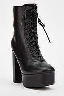 Черные женские сапожки на широком каблуке, доставка с Англии