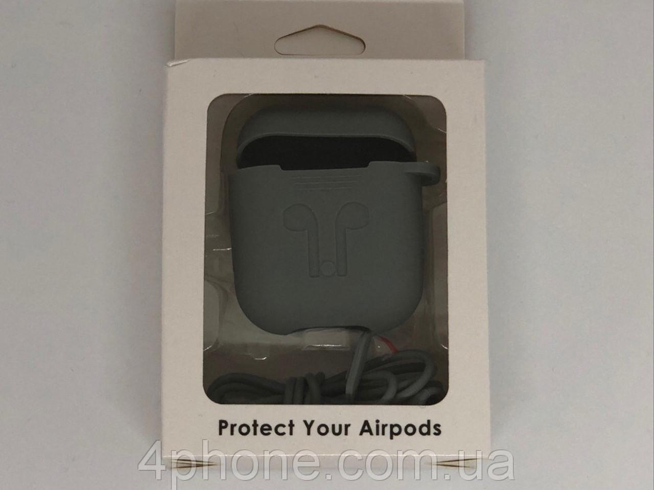 Чехол светло-серый для Airpods с карабином №4