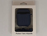 Чехол темно-синий для Airpods с карабином №9