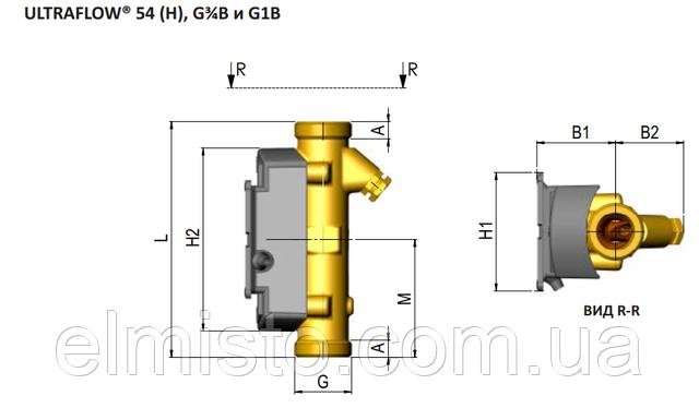 Габаритные размеры датчика расходаMULTICAL 603