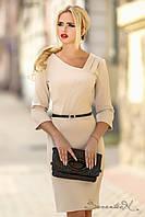 Класичне трикотажне плаття по коліно, рукав три чверті, осіннє, фото 1