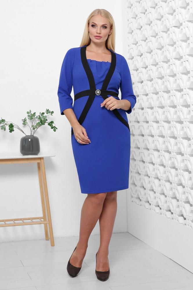 Яркое синее платье из креп-дайвинга 50,52,54,56