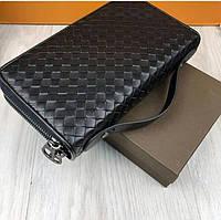 Мужской кожаный портмоне кошелек Bottega Veneta на 2 змейки