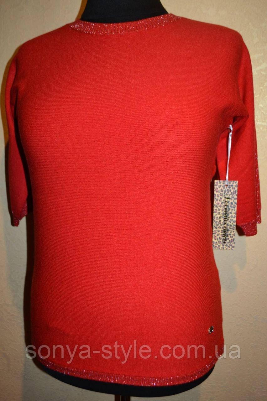 Женская кофта однотонная с люрексовыми вставками и рукав 3/4   больших размеров