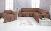 Чехол на диван угловой и кресло Venera 03-202 Светлый Какао