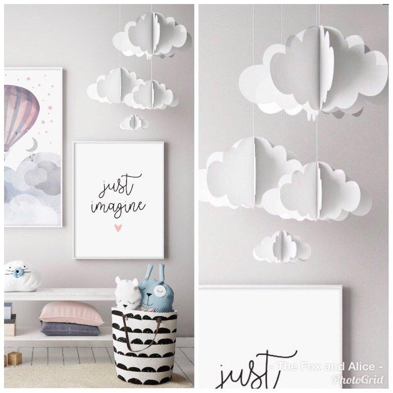 Подвесной декор облако с капельками (цена указана за комплект 4 шт.)