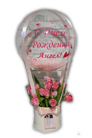 Букет в коробочке с цветами и Шаром