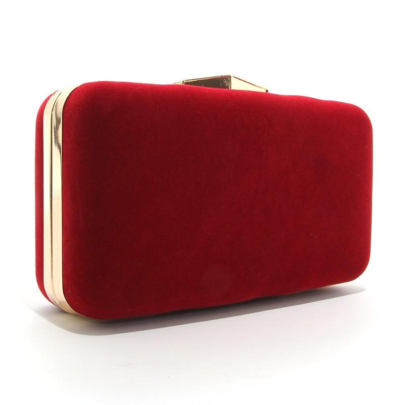 Клатч-бокс мини женский велюровый красный Rose Heart 09829-1