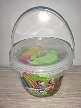 Пісок для творчості арт 0191 300г, формочки 5 шт, мікс кольорів, у відрі, 12-9,5-12 см зелений