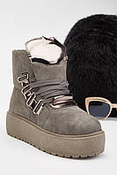 Серые женские зимние ботинки, мода 2020