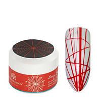 Гель паутинка для дизайна ногтей Global Fashion красный