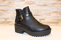 Ботинки женские черные на устойчивом каблуке Д623