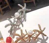 Заколка для волос Морские звезды с жемчужиной 8см (цвет золото или серебро), фото 1