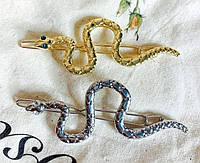 Заколка для волос Змея металлическая с глазами стразами 7,5*3см (цвет золото или серебро), фото 1