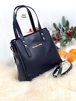 Синяя женская сумка на плечо среднего размера небольшая сумочка экокожа, фото 1
